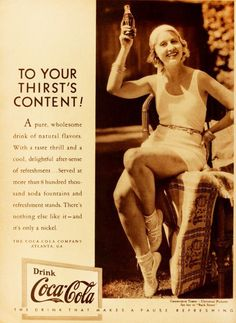 Drink to your thirst's content! Vintage 1930s Coca-Cola ad