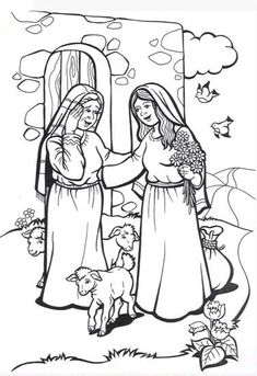 Mary Visits Elizabeth Coloring Pages Grade Catechist Res - Church of St. Bible Story Crafts, Bible Crafts For Kids, Bible Stories, Sunday School Kids, Sunday School Lessons, Sunday School Crafts, Sunday School Coloring Pages, Bible Coloring Pages, Church Crafts