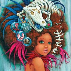 """For #throwbackthursday & in honor of #BlackHistoryMonth 👩🏾👴🏿❤️ I want to share  my painting """"Marshland Priestess"""" 🎨✨ This is a character from the graphic novel I worked on """"Sky Pirates"""". 📚 Her name is Calypsu🐊 💖 She's a fierce and fiery woman who protects her village and is one of the most revered leaders of Neo Terra. 🛡👑 You don't want to mess with her, that's for sure 😜hope you like her! 😊 #camilladerrico #popsurrealism #poppainting #painting #oilpainting #skypirates #neoterra…"""