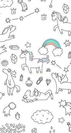 Find Cute Unicorn Pony Collection Magic Items stock images in HD and millions of other royalty-free stock photos, illustrations and vectors in the Shutterstock collection. Cool Wallpaper, Pattern Wallpaper, Wallpaper Backgrounds, Iphone Wallpaper, Unicorns Wallpaper, Wallpaper Doodle, Screen Wallpaper, Unicorn Art, Cute Unicorn