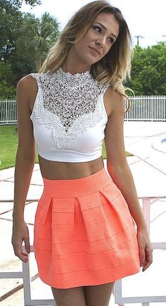 Love everything about this outfit! And the shirt is open back. Skirt is perfect