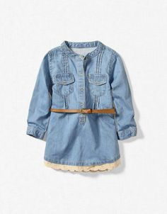 zara denim dress with lace edging..so cute with little cowboy boots