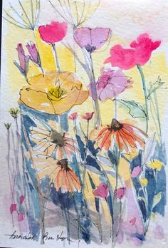 by Annabel Burton Watercolor Pictures, Pen And Watercolor, Watercolor Flowers, Watercolor Paintings, Watercolors, Drawing Flowers, Alcohol Ink Art, Sketch Painting, Illustration Art