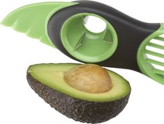 Perfect slices of peeled avocado are just seconds away with this task-specific, three-part tool. Serrated plastic blade easily slices the skin, circular pitter scoops out the pit, and plastic blades create clean, uniform slices.