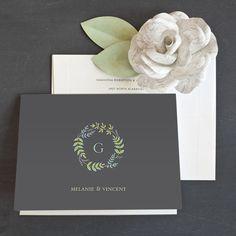 Leafy monogram thank you card