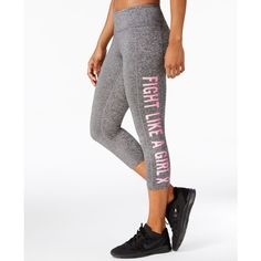 Ideology Breast Cancer Research Foundation Cropped Leggings, Created... ($25) ❤ liked on Polyvore featuring pants, leggings, charcoal melange, crop length pants, white leggings, white cropped leggings, charcoal pants and charcoal gray pants