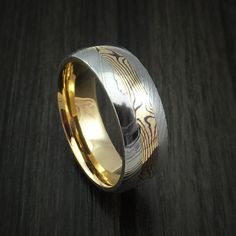Damascus Steel Ring with 18K Yellow Gold Mokume and 18K Yellow Gold Sleeve Custom Made Band