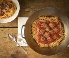 Spaghetti With Bison Meatballs Recipe - eats - Meatballs Bison Recipes, Wok Recipes, Dinner Recipes, Cooking Recipes, Healthy Recipes, Protein Recipes, Healthy Kids, Yummy Recipes, Healthy Eating