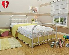 White Metal Twin Size Bed Frame Bedroom Furniture Antique Victorian Steel