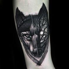 Half Wolf Half Forest Mens Forearem Tattoo Ideas