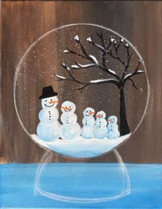 Learn how to paint a snow globe with acrylics on canvas. This beginner painting tutorial will show you how. Customize your own family of snowmen inside. Holiday Canvas, Christmas Paintings On Canvas, Cute Canvas Paintings, Bob Ross Paintings, Canvas Painting Tutorials, Easy Canvas Painting, Christmas Canvas, Christmas Art, Diy Painting