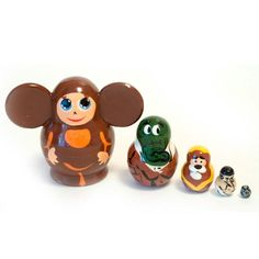 Matryoshka Cheburashka is only 4 tall but the set consists of 5 pieces, the smallest doll about few millimeters tall, this is very hard to make such small wooden form with very thin walls. As well it was hard to paint such small nesting dolls wi Dolls, Gifts, Products, Presents, Puppet, Doll, Gifs, Puppets, Beauty Products