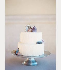 white wedding cake with geode cake topper ~  we ❤ this! moncheribridals.com