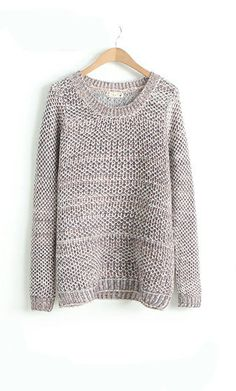 Variegated mixed woven round neck pullover loose sweater