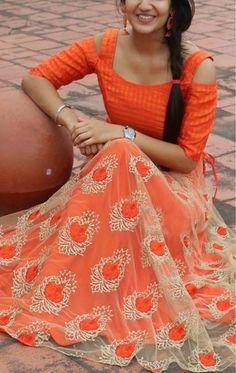 Best 12 Orange Colour Nylon Net Fabric Party Wear Lehenga Choli Comes with matching blouse. This Lehenga Choli Is crafted with Embroidery This Lehenga Choli Comes with Unstitched Blouse Which Can Be Stitched … – Page 819444094683600167 Lehenga Choli Designs, Kurta Designs, Half Saree Designs, Kurti Designs Party Wear, Blouse Designs, Sleeve Designs, Dress Designs, Long Gown Dress, Lehnga Dress