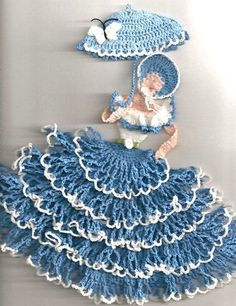 Crinoline Lady Girl Frilly 3D Southern Belle Blue Butterfly Rose Crochet Doily: