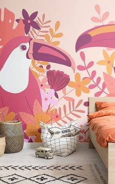 Create a fun and energised theme in your young child's space with this quirky toucan bird wallpaper, a tropical design. Tropical Design, Tropical Plants, Bold Colors, Colours, Cool Kids Bedrooms, Statement Wall, Bird Wallpaper, Prune, Room To Grow