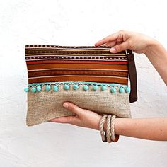 SALE Writlet Bag in Brown with Aqua  Green Pompoms. Boho Chic