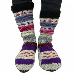 Multicolor Socks Knitted Warm Handmade Traditional Wool Blends Women Socks India Women Socks, Knitting Socks, Wool Blend, India, Warm, Traditional, Creative, Handmade, Accessories