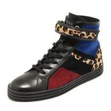 4450G sneaker donna nero blu HOGAN REBEL r182 allacciato strap bordato scarpa sh