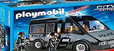 Playmobil 6043 City Action Police Van Including detachable roof and enough space for up to seven figures. The light and sound model requires a 1,5-V-AAA-batteries (not included).Suitable for ages 4 (Barcode EAN = 4008789060433) http://www.comparestoreprices.co.uk/latest1/playmobil-6043-city-action-police-van.asp