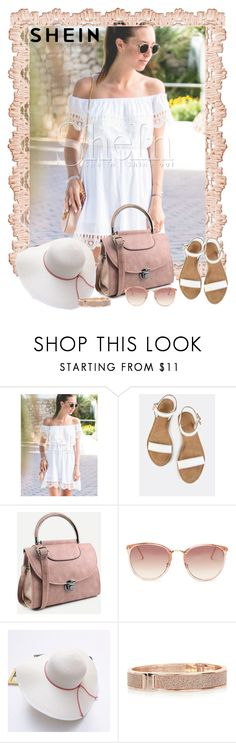 """Shein white off the shoulder Lace dress"" by lorrainekeenan ❤ liked on Polyvore featuring WithChic, Linda Farrow and River Island"