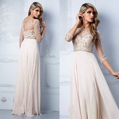 2014 New Long Sleeve Beads Scoop Formal Evening Dresses Empire Waist Prom Gowns