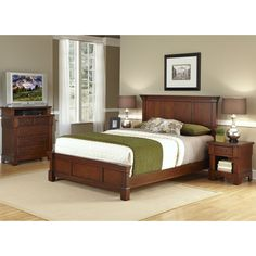 King-size Bedroom Set | Overstock.com This only brown/tan accents instead of green