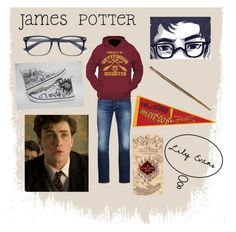 """""""James Potter"""" by shanoonflower ❤ liked on Polyvore featuring interior, interiors, interior design, home, home decor, interior decorating, Jack & Jones and Converse"""
