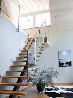 Trappräcke i glas från Vetro Halle, Home Stairs Design, Modern Staircase, House Stairs, Roof Design, Imagines, Stairways, Entrance, Architecture Design