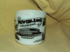 NEW ORLEANS LOUISIANA WHITE MILK GLASS MUG CUP SUPERDOME CAFE DU MONDE FEDERAL