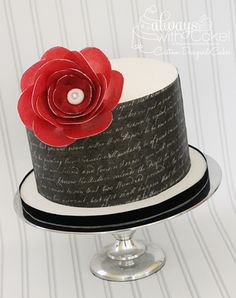 Wafer Paper Wrapped Anniversary Cake