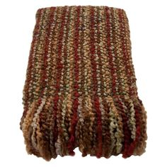 An exquisite blend of colorful contrasts and tasteful textures, this elegant throw adds distinct style and traditional appeal to any space. With its striped pattern and free flowing texture, this throw is brimming with traditional and cozy style. The earthy-toned brown, red, orange, and white color palette also helps it blend in with a variety of settings from understated to eclectic. Try folding it and draping it over a brown leather Chesterfield sofa in your living room for the perfect…