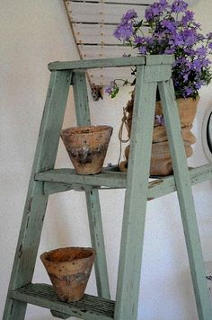 Love this idea!  Have an old wooden ladder in the garage!  Just needs a coat of paint.