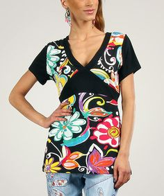 Love this Black & Pink Floral Tie-Back Top by Peace and Love on #zulily! #zulilyfinds