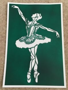 Hand done paper cut out of Ballerina. Created by Admiral Salt