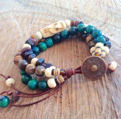 Earthy Boho gypsy bracelet ethnic beaded wrap hippie by AquaAzur