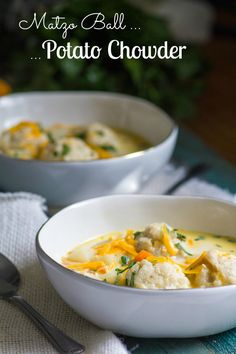 Not your Bubbe's matzo ball soup, that's for sure! A cheesy, creamy broth with chunks of tender potatoes and carrots and light fluffy matzo dumplings. Matzo Ball Potato Chowder is here! Yayy.
