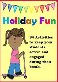"Filled with great ideas to help your students fill their days with wholesome fun, this pack offers 84 suggestions to keep your student's minds active over a long vacation.  NO PREP needed, simply print and go.    A range of areas are covered including reading, writing, maths – designed to be fun enough to be tempting, whilst also keeping your students' skills current these activities will help to avoid the ""back to school slump"" in attainment we often experience as children ""forget…"