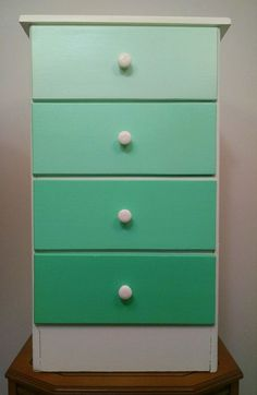 Mint Green Ombre Small Dresser-Chest of Drawers-Night Stand-Hand Painted in Home & Garden, Furniture, Dressers & Chests of Drawers | eBay
