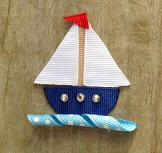 Sailboat Ribbon Sculpture Hair Clip - Toddler Hair Bows - Girls Hair Accessories.. Free Shipping Promo on Etsy, $3.75