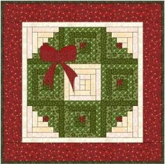 Wreath made from log cabin blocks