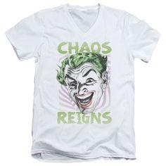 Batman Classic Tv/Chaos Reigns Short Sleeve Adult T-Shirt V-Neck 30/1 in
