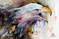 Roofvogel  BALD EAGLE aquarel schilderij Print door Dean door DeanCrouserArt