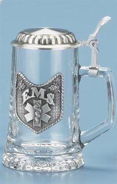 0.4 Liter E.M.S. Emergency Medical Service German Glass Beer Stein $41.99
