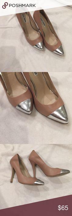 "Steve Madden ""Illusion"" Nude /Silver Cap Toe Heels Amazing amazing shoe!! Steve Madden Shoes Heels"