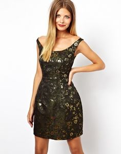 Image 1 - ASOS - Bardot - Robe en jacquard à motif camouflage