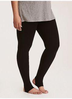 7b6b075519d56 Plus Size Stirrup Inset Leggings