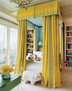 love the canopy beds; House of Turquoise: Kids' Room House Of Turquoise, Yellow Turquoise, Turquoise Room, Turquoise Fabric, Pink Yellow, Aqua Blue, Blue Gold, Hot Pink, Home Design