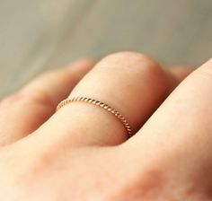 ME- Solid 14k Gold Ring Twisted Thin Band Genuine by redpoppycompany, $79.00